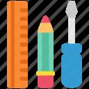 design, designthinking, instruments, pen, screwdriver, thinking, tool icon