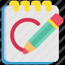 design, designthinking, note, notebook, pen, sketch, think icon
