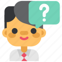 <!-- generator: adobe illustrator 23.0.6, design, designthinking, man, question, think, thinking icon