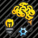 brains, brainstrom, bulb, idea, think icon