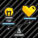 balance, comparison, hearts, idea, seo icon