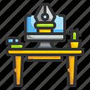 computer, design, desk, table, work icon