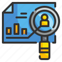 analysis, charts, magnifying, research, statistics icon