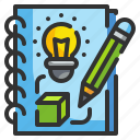creative, sketchbook, notebook, idea, design icon