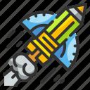 design, pencil, rocket, space, starup