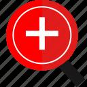 design, plus, thinking, zoom icon
