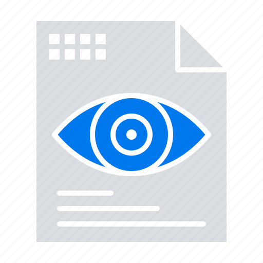 computing, eye, file, text icon