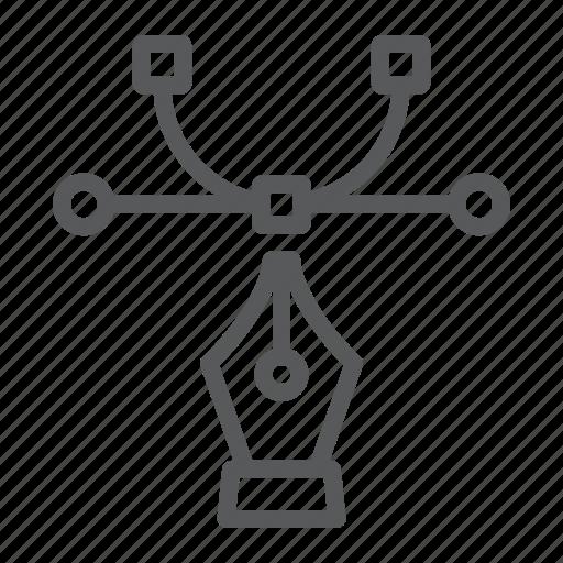 bezier, curvature, curve, design, draw, soft, tool icon
