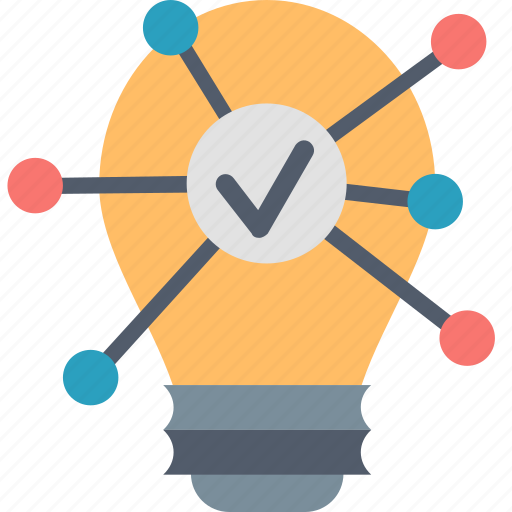 bulb, communication, connection, idea, interaction, light, sharing icon