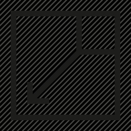 arrow, design, minimize, screen, square, tool, zoom icon
