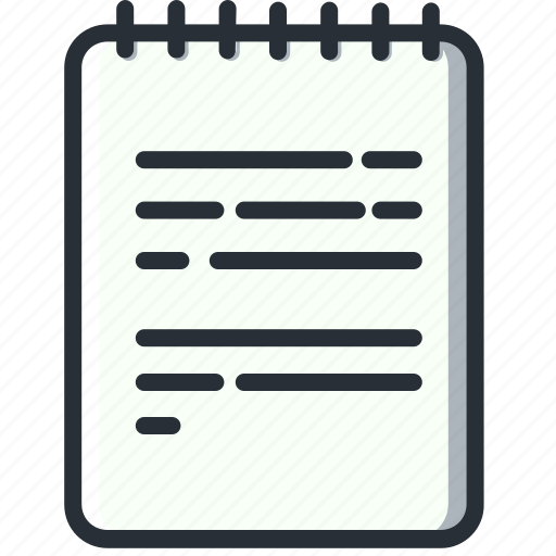 logbook, notebook, notes, text, text file, writing icon