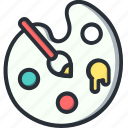 art, brush, colors, paint, paintbrush, palette icon