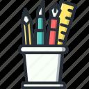 design, holders, pencil, ruler
