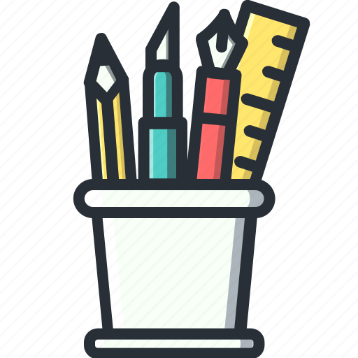 design, holders, pencil, ruler icon