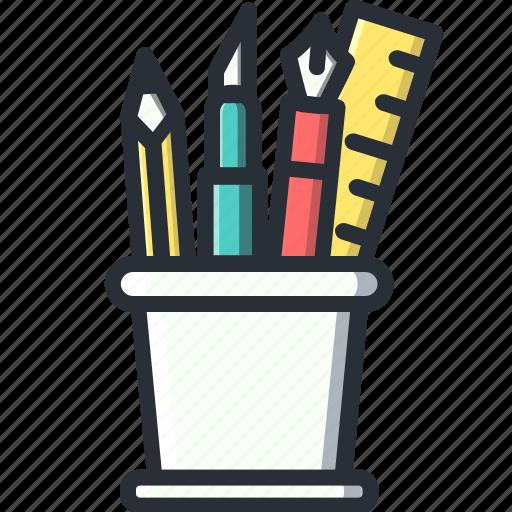 design, holders, pencil, ruler icon
