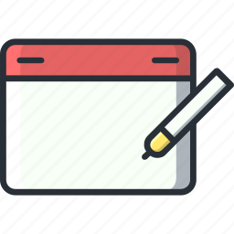 design, draw, pencil, tablet, wacom icon