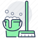 wet, mop, bucket, cleaning, sanitizing, disinfection icon