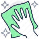 dust, cleaning, cloth, disinfection, wipe, hand icon