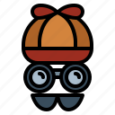 disguise, glasses, hat, moustache, security icon