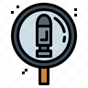 bullets, evidence, glass, magnifying, weapons icon