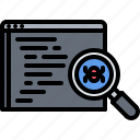 bug, code, developer, development, error, programmer, search icon