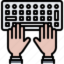 code, developer, development, hand, keyboard, programmer icon