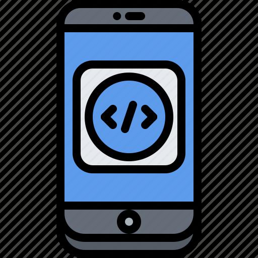 app, application, code, developer, development, phone, programmer icon