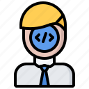 code, developer, development, man, programmer icon