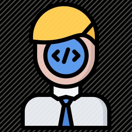 code, developer, development, man, programmer icon