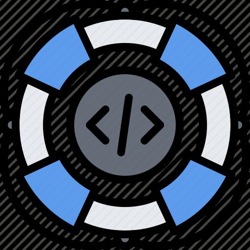 code, developer, development, help, programmer, support, technical icon