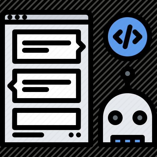 bot, chat, code, developer, development, messenger, programmer icon