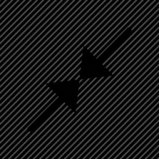 arrow, collapse, diagonal, resize, scale, shrink, size icon