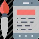 app, brush, coding, development, interface, mobile, programming icon