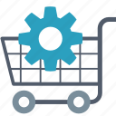 cart, ecommerce, gear, improvement, optimization, seo, shopping icon