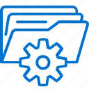 administration, data, files, folder, gear, management, storage icon