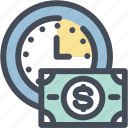 budget, clock, dollar, money, time, usd, watch icon