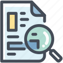 exam, magnifier, magnifying glass, questionair, research, search, summary icon