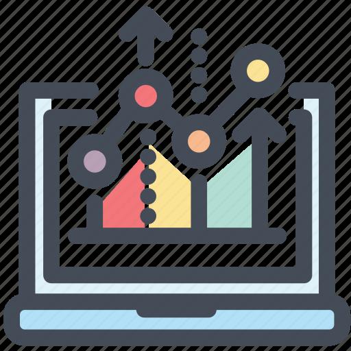 analytics, graph, laptop, monitoring, report, screen, statistics icon