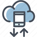 cloud, download, mobile, phone, server, upload icon