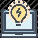 bulb, energy, idea, invent, laptop, light, startup