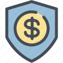 bank, dollar, money, protected, protection, safe, shield icon