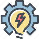 bulb, develop, gear, idea, light, settings, work on idea icon