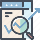 chart, graph, magnifier, monitoring, sales report, seo, statistics icon