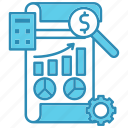 development, diagram, financial, graph, paper, report, startup icon