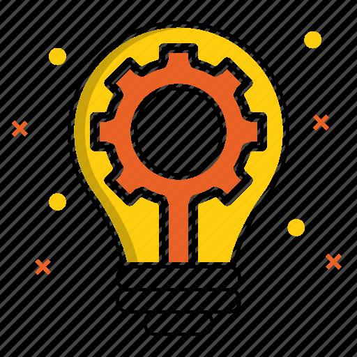 creative, development, gear, idea, production, startup icon