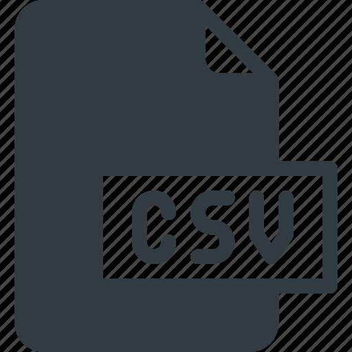 csv, development, extension, file, programing, type icon