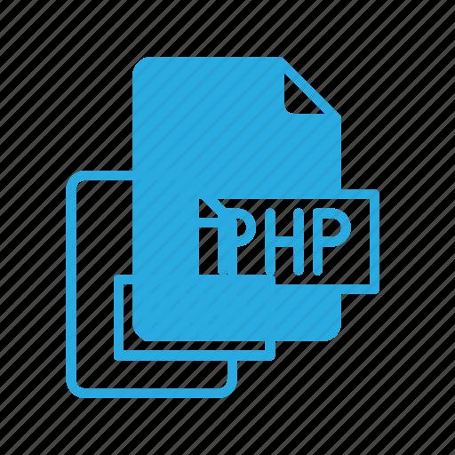 development, extension, file, php, programing, type icon