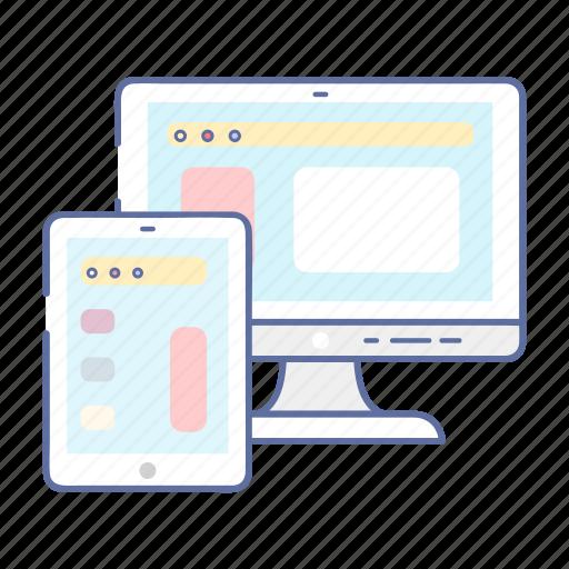 coding, desktop, monitor, programming, responsive icon