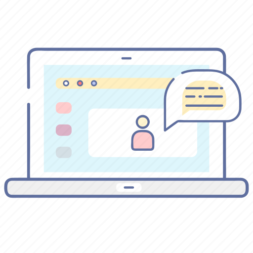 chat, communication, laptop, monitor icon