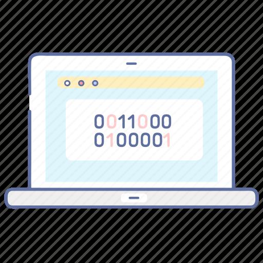 binary, code, coding, laptop, programming icon